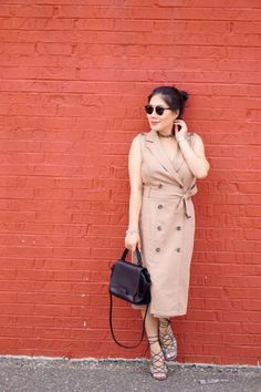 Timeless Sleeveless Trench Dress/Vest WHBM tan sleeveless trench dress/vest + Ray Ban sunglasses + Ettika black chocker + Zac by Zac Posen black bag + DV lace-up heel sandals