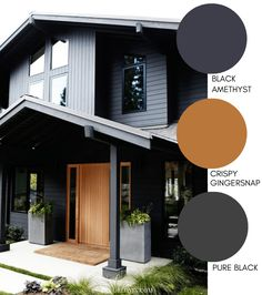Traditional home with modern paint finishes and a classic golden oak front door. These modern exterior paint colors are perfect for your home. The best resource for modern color schemes that will look good on any home exterior. Outside House Paint Colors, Exterior Paint Colors For House, Paint Colors For Home, Exterior House Colour Schemes, Cabin Exterior Colors, Exterior Design, Cabin Paint Colors, Exterior Color Palette, Dark Paint Colors