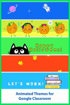 Animated Headers for Google Classrroom. Decorate your Fall classroom. Halloween and pumpkin themes included.
