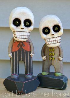 Skeleton Day of the Dead Original Hand Painted Folk Art Halloween Doll Sculpture OOAK