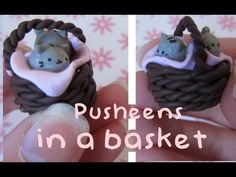 2 Pusheens in a Clay basket