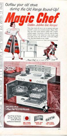 1952 Magic Chef Oven Ad - 1950s Kitchen Appliances Retro