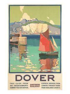 Travel Poster for Dover, Kent Transportation Art Print - 46 x 61 cm Posters Uk, Railway Posters, Art Deco Posters, Poster Prints, Art Prints, Vintage Travel Posters, Vintage Ads, Vintage Stuff, Vintage Prints