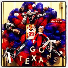 Texans deco mesh wreath minus TJ the elf