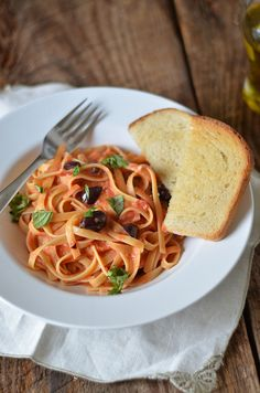 fettuccine with tomato cream sauce by Pennies on a Platter, via Flickr