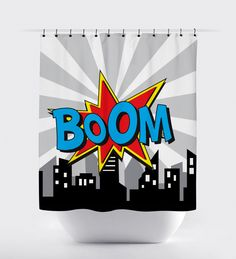 Items similar to superhero comic shower curtain, comic word super hero shower curtain, comics bubbles pink blue shower curtain, bathroom decor, fabric on Etsy Bathroom Crafts, Bathroom Kids, Kids Bath, Superhero Bathroom, Superhero Room, Blue Shower Curtains, Shower Curtain Sizes, Comic Party, Comic Bubble