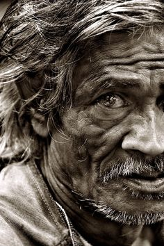 Pinner said: Black and white photography of old wrinkly men. I just want to take pictures of old men with unique faces from different countries and post them on my website. Is that too much to ask?? But I want to do it without them knowing because I'm too scared to ask. eyes