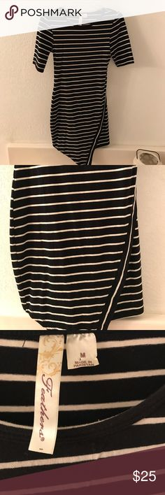 Black & White Bodycon Dress Black and white horizontal striped bodycon dress. Wrap-style bottom, quarter length sleeves. Cotton. Worn maybe once or twice. Feathers Dresses