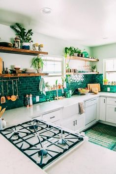 Supreme Kitchen Remodeling Choosing Your New Kitchen Countertops Ideas. Mind Blowing Kitchen Remodeling Choosing Your New Kitchen Countertops Ideas. Kitchen Tiles Design, Interior Design Kitchen, Kitchen Backsplash, Green Tile Backsplash, Kitchen Countertops, Backsplash Ideas, Kitchen Subway Tiles, Kitchen Sink, Backsplash Wallpaper