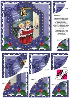 Choirboys Christmas 6in Duo Corner Stacker Card Front on Craftsuprint - Add To Basket!