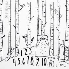 Birch Tree Hide-N-Seek. Day 165 of yearlong sketchbook project. Cassie Loizeaux 2014