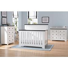 Delta Children Providence 4-in-1 Convertible Crib - White and Textured Black