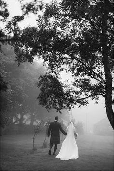 Scottish wedding in the mist.