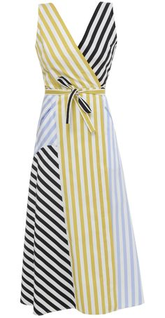 Multicolor striped V-neck, wrap midi dress with a waistband fastening. cotton Dry clean only Made in Ukraine Model is wearing size XS She is bust waist hips Simple Dresses, Summer Dresses, Kimono Design, Cotton Dresses, Striped Dress, Dress Skirt, Cool Outfits, Fashion Dresses, Clothes For Women