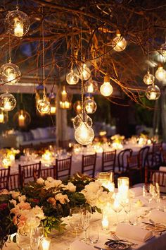 Edison bulb and hanging candle wedding decor. See the post at http://tulleandtwine.com/2013/11/13/edison-bulb-decor