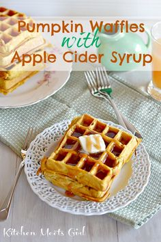 Pumpkin Waffles with Apple Cider Syrup | Kitchen Meets Girl
