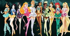 The Disney princesses done in anime style closely to that of Sailor Moon