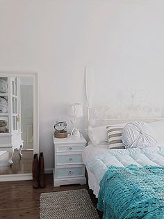 Layering with white and colour for Coastal vintage style - Beach Decor Blog, Coastal Blog, Coastal Decorating