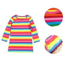 Toddler-Baby-Girls-Long-Sleeve-Rainbow-Striped-Tops-T-Shirt-Casual-Dress-2-11Y