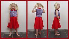 DIY jurkje met rood en ruiten stofje