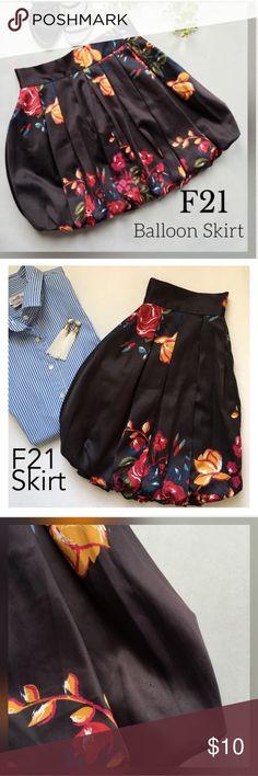 Black Floral balloon skirt -Medium EUC!! Forever 21. Very tiny snag on front left of skirt. 3rd pic. Forever 21 Skirts
