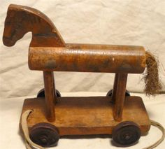 Antique Wooden Pull Along Horse Toy