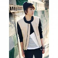 $16.05 Fashion Style Stand Color Color Splicing Long Sleeves Polyester Jacket For Men