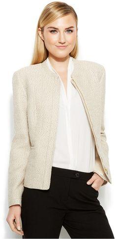 Calvin Klein Zip-Front Tweed Jacket $139.00