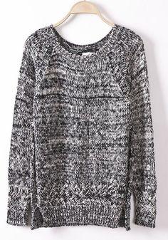 Grey Plain Round Neck Long Sleeve Cotton Sweater