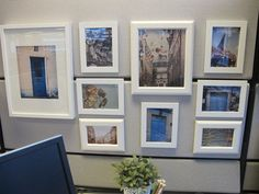 Put your decor in cheap matching frames for an easy upgrade. | 54 Ways To Make Your Cubicle Suck Less