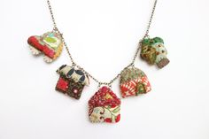 ***Textile jewelry finds #textilejewelry #fashion #design Welcome To Our Neighbourhood  Red Textile by NariDesignPot on Etsy, $65.00