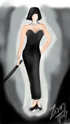 Long black evening dress fashion sketch