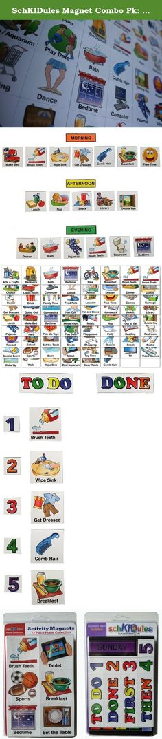 SchKIDules Magnet Combo Pk: 72 pc Home Collection PLUS 19 pc Headings Sheet. SchKIDules activity magnets are the easiest way to build an instant visual schedule, chore chart or behavior chart. They are super effective with reducing tantrums, teaching bedtime routines, getting ready for school, establishing chores, and keeping distracted kids focused. Additionally, visual schedules have a special place for kids with Autism whose behavior and/or communication experience improvement once...