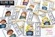 Clip a Clock: This fun Kindergarten Math activity helps students tell time in a hands-on way!
