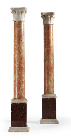 A group of four Grand Tour marble columns late 19th/early 20th century - Dim: height of tallest 25 1/2 in. (65 cm)