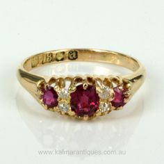 vintage ruby and diamond rings | Buy Antique ruby and diamond ring made in 1896, Sold Rings Sydney ...