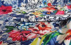 Descubre nuestras telas estampadas de biolactan, (parecidos al, neopreno, punto, politecno, etc…). Tejido con tacto muy suave y con elasticidad. Con el biolactan, te puedes hacer tus propios vestidos de fiesta, chaquetas, faldas, etc… Biolactan con fondo blanco y estampaciones de flores.
