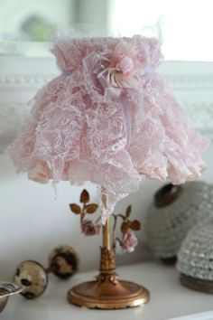 DIY- How to Make a Lace Lampshade! SO very pretty! I have made 4 of these already .... hehehe                                                                                                                                                     More