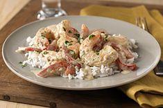 Creamy Pesto-Shrimp & Rice (or Angel Hair Pasta) recipe Shrimp And Rice Recipes, Fish Recipes, Seafood Recipes, Dinner Recipes, Cooking Recipes, Healthy Recipes, Cheese Recipes, Yummy Recipes, Cooking Tips