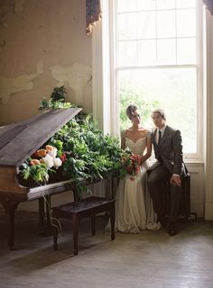Flower filled piano | Anne Robert Photography | see more on: http://burnettsboards.com/2014/03/dreamy-abandoned-mansion-inspiration-shoot/