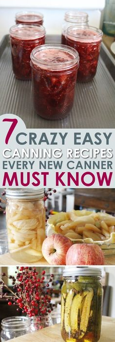 Canning is an amazing vintage skill that's making a big comeback! With these 7 easy water bath canning recipes you will be able to can delicious food using produce from the store or from your own garden! If you are a new canner, you NEED these recipes! Easy Canning, Canning Tips, Home Canning, Canning Recipes, Canning Water, Water Bath Cooking, Real Food Recipes, Yummy Food, Bath Recipes