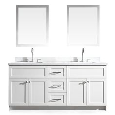 Shop ARIEL Hamlet White Undermount Double Sink Asian Hardwood Bathroom Vanity with Quartz Top (Common: 73-in x 22-in; Actual: 73-in x 22-in) at Lowes.com
