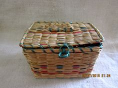 Vintage - 1920's - Handwoven  Sweetgrass Covered Sewing Basket by angelinabella on Etsy https://www.etsy.com/listing/235036012/vintage-1920s-handwoven-sweetgrass