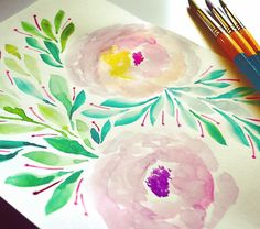 Gouache, Watercolor Paintings, Pastel, Hand Painted, Art Prints, Floral, Instagram Posts, Flowers, Art Impressions