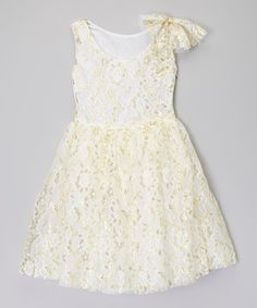 Look what I found on #zulily! Little Miss Fairytale White & Gold Flower Dress - Infant, Toddler & Girls by Little Miss Fairytale #zulilyfinds