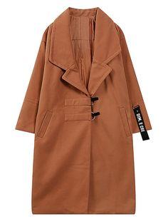Camel D Ring Closure Letter Strap Detail Tailored Woolen Coat