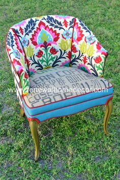 "Custom Order - Vintage Accent Chair - ""Adelante's Fiesta Chair"" - SOLD by ReNewalHomeDecor on Etsy https://www.etsy.com/listing/166659132/custom-order-vintage-accent-chair"