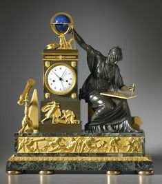 A rare and magnificent Louis XVI gilt and patinated bronze and vert de mer marble mantle clock of eight day duration, the white enamel dial with Roman numerals and blued steel moon hands for the hours and minutes and a sweep centre blued steel pointer for the seconds. The movement with silk thread suspension, anchor escapement, striking on the hour and half hour on a single bell, with outside count wheel. The extremely rare bronze case..