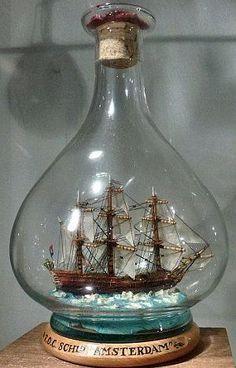 Ship AMSTERDAM Model in a Bottle.