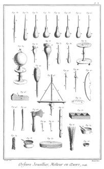 Antique jewellery and goldsmithing tools